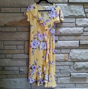 Miley + Molly yellow floral wrap maxi dress M